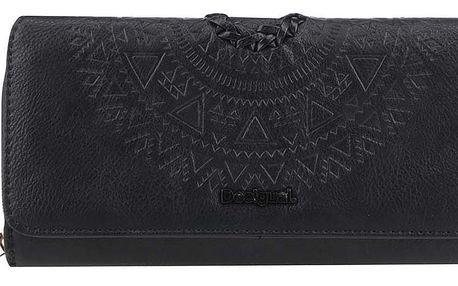 Černá podlouhlá peněženka s plastickým vzorem Desigual Maria Patricia