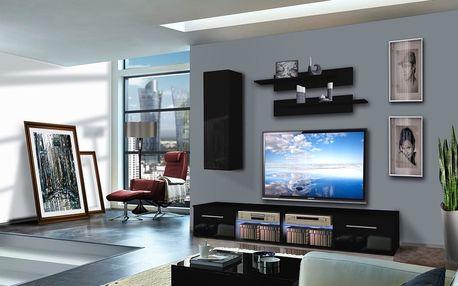 Obývací stěna TUBUS A1, černá matná/černý lesk