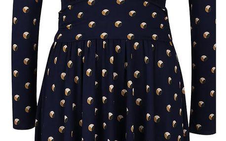 Tmavě modré šaty vzorované šaty s dlouhým rukávem Closet