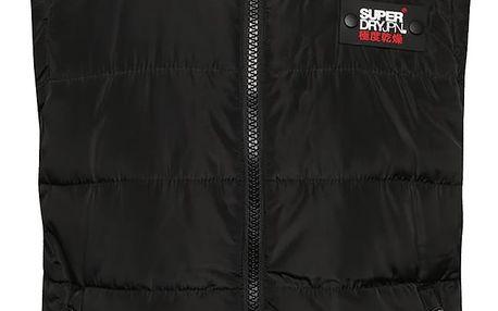 Černá pánská prošívaná vesta s kapucí Superdry