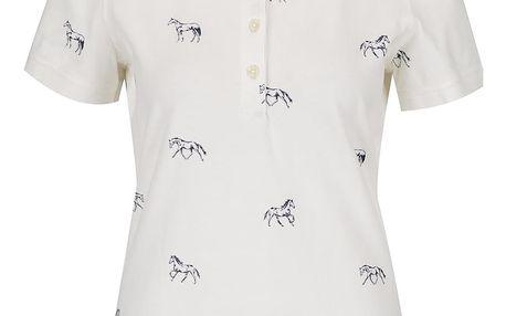 Krémové dámské polo tričko s motivem koní Tom Joule Trinity