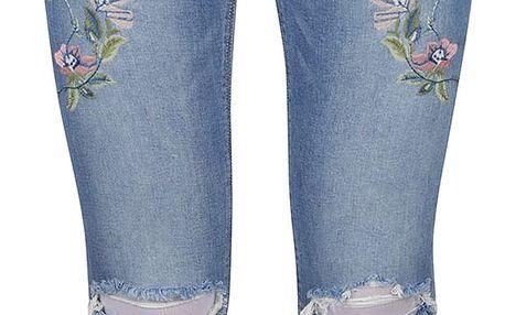 Modré skinny džíny s nášivkou květin TALLY WEiJL