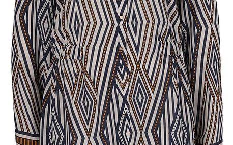 Modro-krémové vzorované košilové šaty VILA Nomad