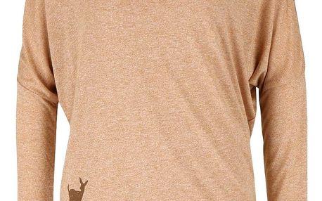 Světle hnědé žíhané dámské tričko s dlouhým rukávem Ragwear Sheila
