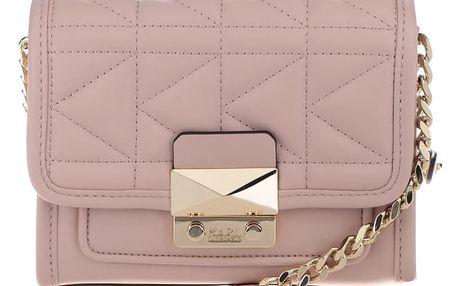 Světle růžová malá kožená crossbody kabelka s prošívanou klopou KARL LAGERFELD