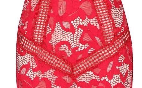 Krémovo-červené krajkové šaty Little Mistress
