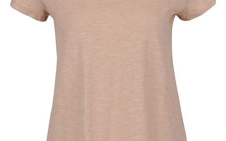 Béžové volné tričko s všitým dílem na zádech VILA Ferma