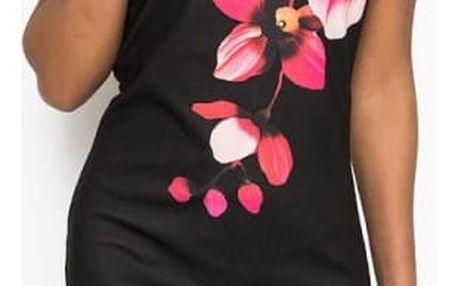 Dámské černé šaty s květinou