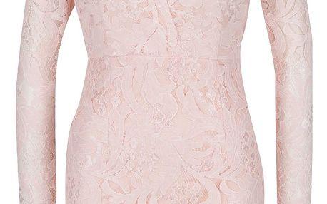 Růžové krajkové šaty s průstřihem v dekoltu AX Paris