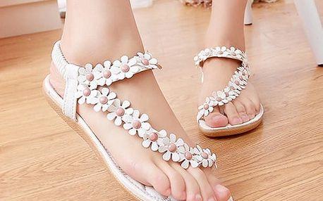 Letní dámské sandále s kopretinkami - tři barvy