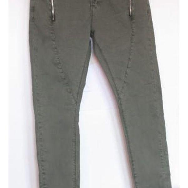 Dámské zelené kalhoty se zipy Bette