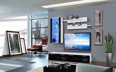 Obývací stěna LEDGE G1, bílá matná/černý lesk