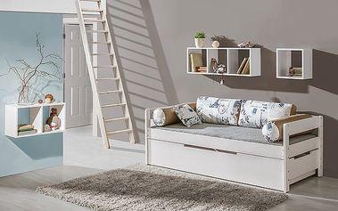Dolmar Dětská postel BORYS se šuplíkem barevné provedení korpusu: ořech, Motiv potahu: motiv AUTO