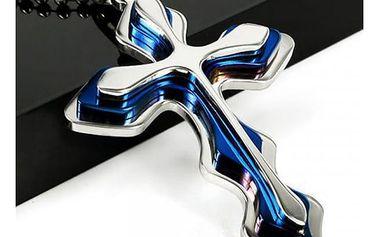 Pánský řetízek s modrým křížkem - dodání do 2 dnů
