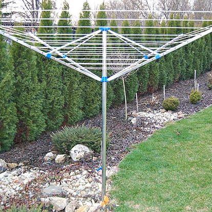 Velký zahradní sušák na prádlo: praktická otočná konstrukce se 4 rameny, poštovné v ceně