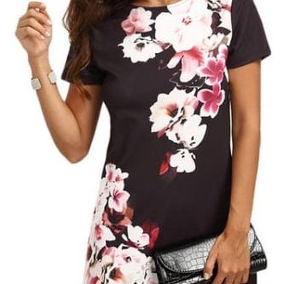 Dámské šaty s květy a krátkým rukávem