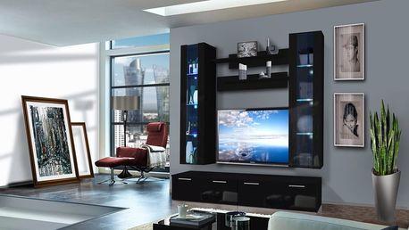 Obývací stěna LEDGE E2, černá matná/černý lesk
