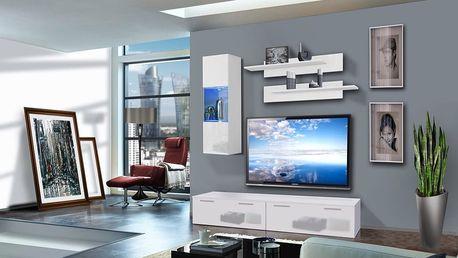 Obývací stěna LEDGE C1, bílá matná/bílý lesk