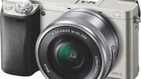 Sony Alpha 6000, 16–50mm, stříbrná - ILCE6000LS.CEC