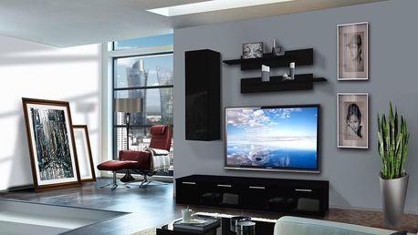 Obývací stěna LEDGE A1, černá matná/černý lesk