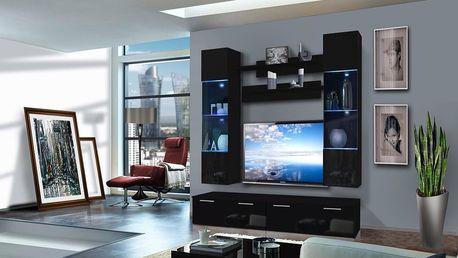 Obývací stěna LEDGE F2, černá matná/černý lesk