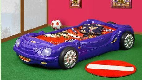 Plastiko postel Auto BOBO - 4 barvy barevné provedení doplňků: modrá