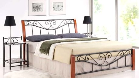 Signal Kovová postel PARMA 160x200 cm, třešeň