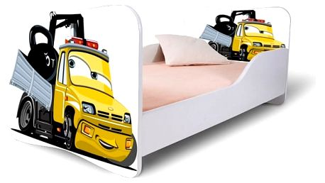 HMbec Dětská postel ŽLUTÝ NÁKLAĎÁK rozměry postele: pro děti od 3 do 7 let (matrace 140 x 70 cm), Šuplík: bez šuplíku
