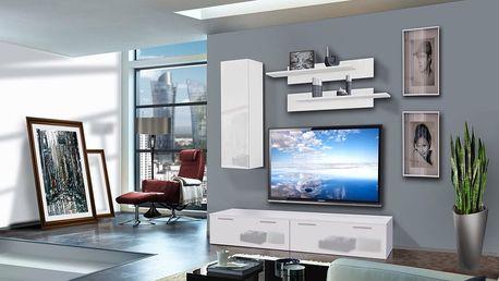 Obývací stěna LEDGE A1, bílá matná/bílý lesk