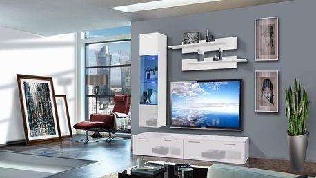 Obývací stěna LEDGE F1, bílá matná/bílý lesk