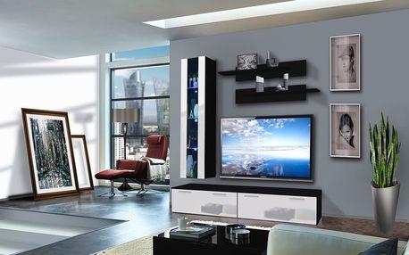 Obývací stěna LEDGE E1, černá matná/bílý lesk