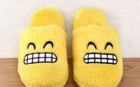 Plyšové pantofle s emotikony - různé druhy