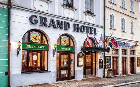 3–4denní pobyt pro 2 s polopenzí v Grand Hotelu Černý Orel v Jindřichově Hradci