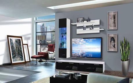 Obývací stěna LEDGE F1, bílá matná/černý lesk