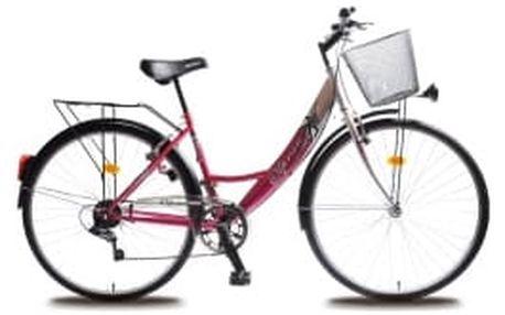 """OLPRAN Mercury Lux 28"""" 2016 stříbrno-růžové crossové kolo"""