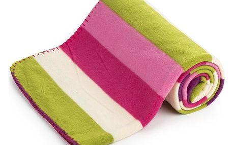 4Home Fleecová deka Pruhy růžová, 130 x 170 cm