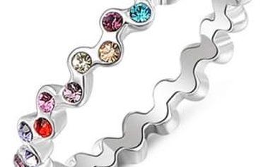 Vlnitý prstýnek s barevnými kamínky - 3 velikosti