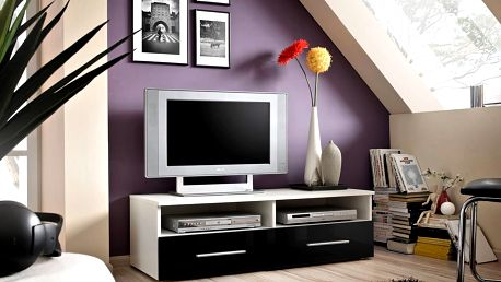 RTV stolek BERN, bílá matná/černý lesk