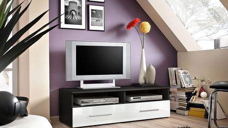 RTV stolek BERN, černá matná/bílý lesk