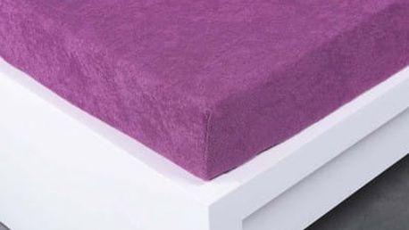 XPOSE ® Bambusové froté prostěradlo dvoulůžko - fialová 200x220 cm