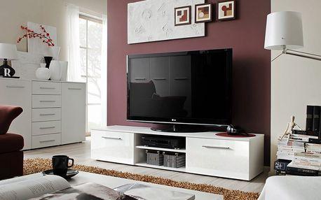 RTV stolek BONO II, bílá matná/bílý lesk