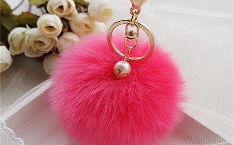 Klíčenka pompom s perleťovým korálkem