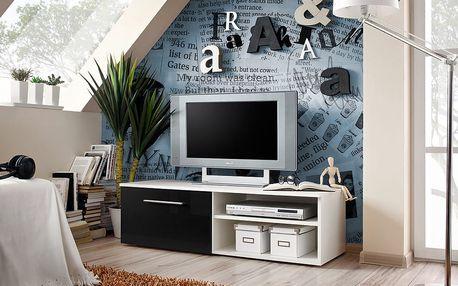 RTV stolek BONO I, bílá matná/černý lesk