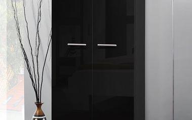 Šatní skříň 2D, černá matná/černý lesk