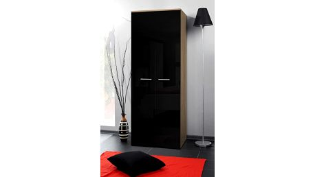 Šatní skříň 2D, dub sonoma/černý lesk