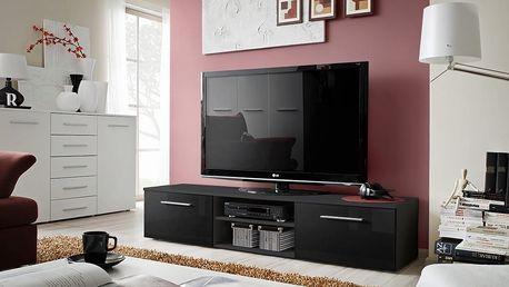RTV stolek BONO II, černá matná/černý lesk