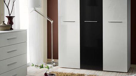 Šatní skříň BIG, bílá matná/bílá matná a černý lesk