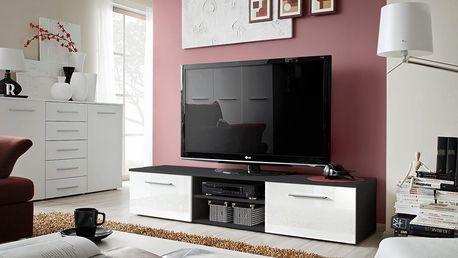 RTV stolek BONO II, černá matná/bílý lesk
