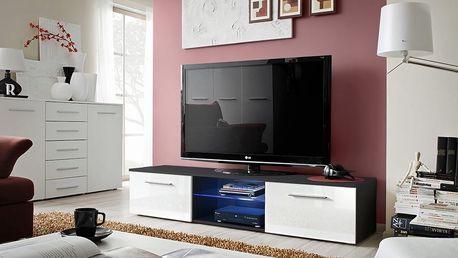 RTV stolek BONO III, černá matná/bílý lesk