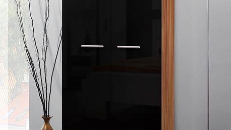 Šatní skříň 2D, švestka/černý lesk